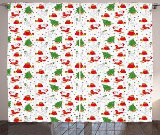 Xmas Tree Santa Claus Curtain