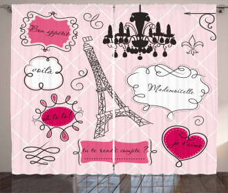Doodle Frames French Curtain
