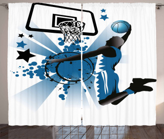 Jumping Player Stars Curtain