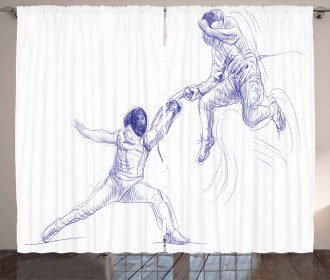 Fencing Duel Sketchy Curtain