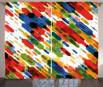 Diagonal Geometric Vibrant Curtain