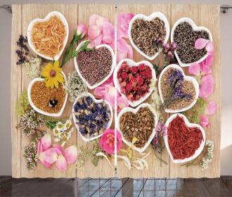 Healing Herbs Cute Bowls Curtain