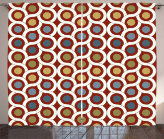 Abstract Circles Curvy Lines Print 2 Panel Window Drapes