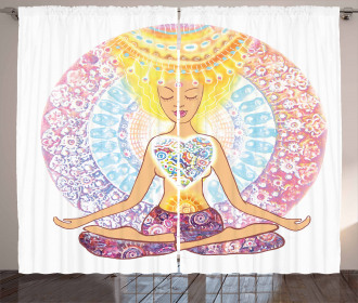 Yoga Woman in Lotus Position Print 2 Panel Window Drapes