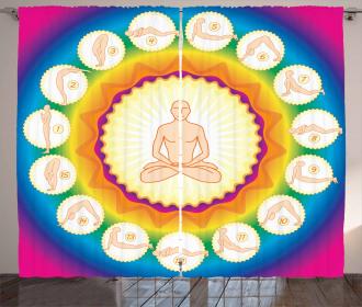 Yogi Lotus Posture Poses Curtain