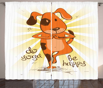 Cartoon Dog Happy Message Curtain