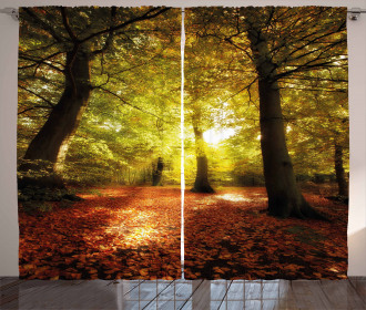 Fall Blurry Forest Dreamy View Print 2 Panel Window Drapes