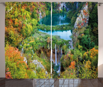 Scenic Fall Valley Lakes Curtain