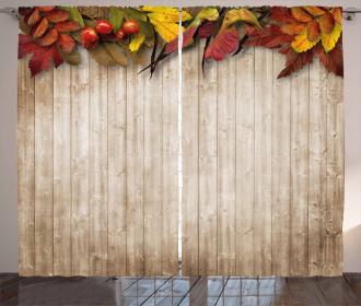Dry Leaves Berries Vivid Curtain