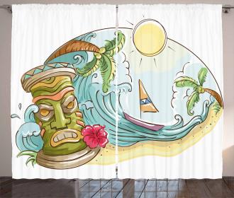 Cartoon Beach Curtain
