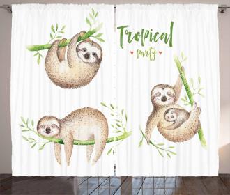 Cute Babies Palm Leaves Curtain