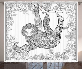 Outline Drawing Jungle Curtain
