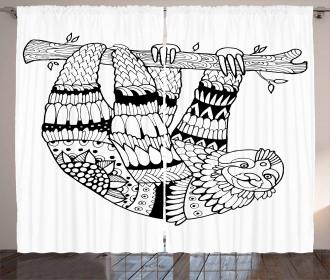 Sloth Figure Artistic Curtain