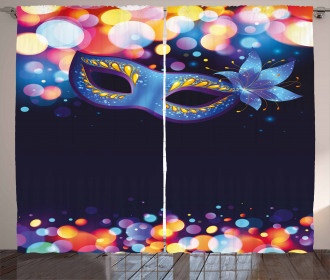 Vivid Blue Carnival Mask Curtain