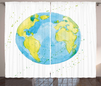 Watercolor Style Planet Curtain