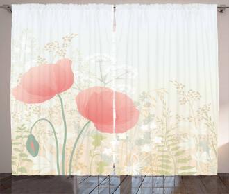 Wild Poppy Blooms Rural Curtain