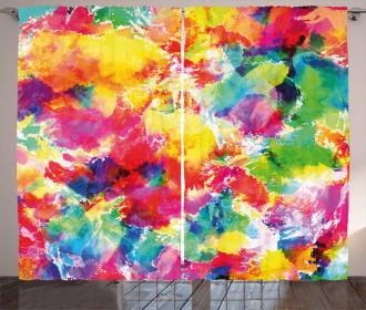 Vivid Messy Watercolors Curtain
