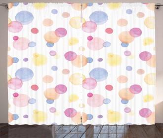 Watercolor Drops Artful Curtain