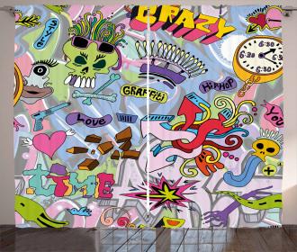 Hip-Hop Graffiti Love Curtain