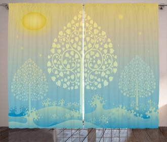 Oriental Trees Thai Design Curtain