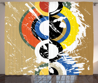 Abstract Geometric Circles Curtain