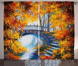 Autumn Forrest with Bridge Curtain