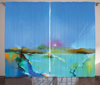 Abstract Sunrise Scene Curtain