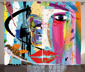 Paint Strokes Splashes Curtain