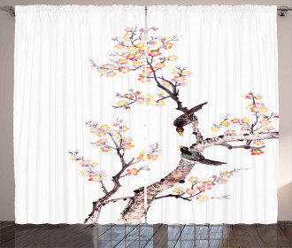 Chinese Paint of Flowers Curtain