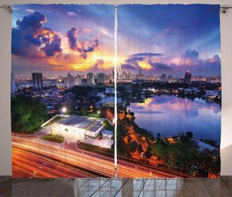 Vibrant Kuala Lumpur Dusk Curtain
