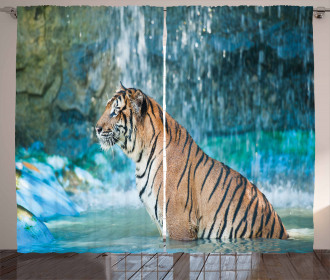 Feline Animal in Pond Curtain