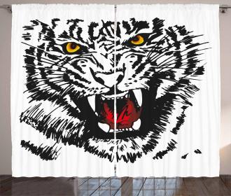 Angry Feline Vivid Eyes Curtain
