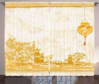 Japanese Buildings Curtain