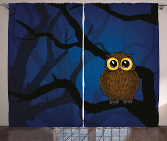Cute Owl on Tree Branch Curtain
