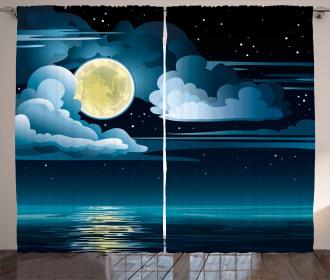 Clouds Full Moon Stars Curtain
