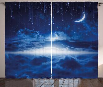 Galaxy Falling Stars View Curtain