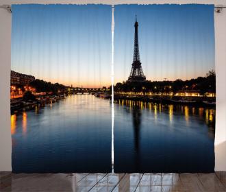 Eiffel Tower at Twilight Curtain