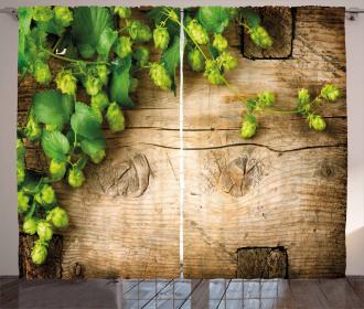 Hop Twigs on Wood Curtain