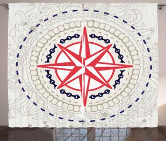 Windrose Marine Symbols Curtain