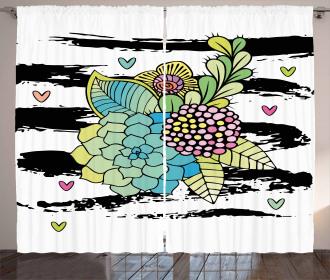 Hipster Flower Bouquet Curtain