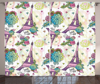 Flower Bouquets Hearts Curtain