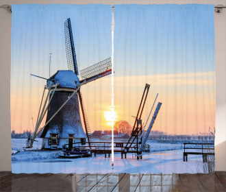 Icy Dutch River Sunset Curtain