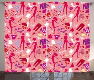 Heels and Dresses Glamor Attire Print 2 Panel Window Drapes