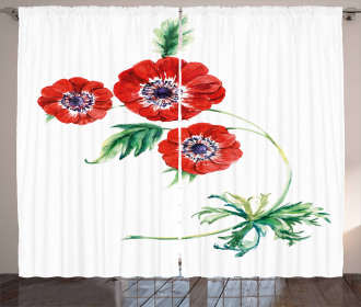 Red Watercolors Curtain