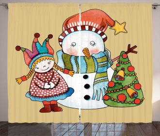 Cute Toy Snowman Tree Curtain