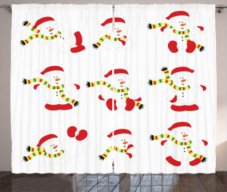 Snowmen with Scarf Curtain
