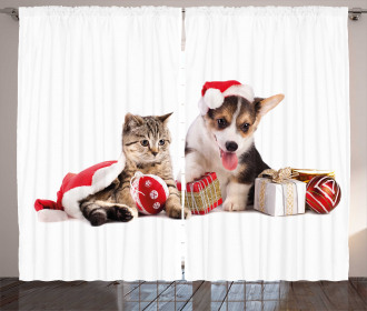 Dog Cat with Presents Curtain
