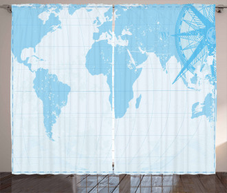 Old Compass Blue Grunge Curtain