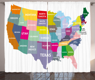 USA Map Colorful States Curtain