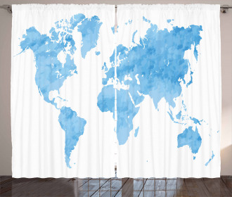 Blue Watercolor World Map Curtain